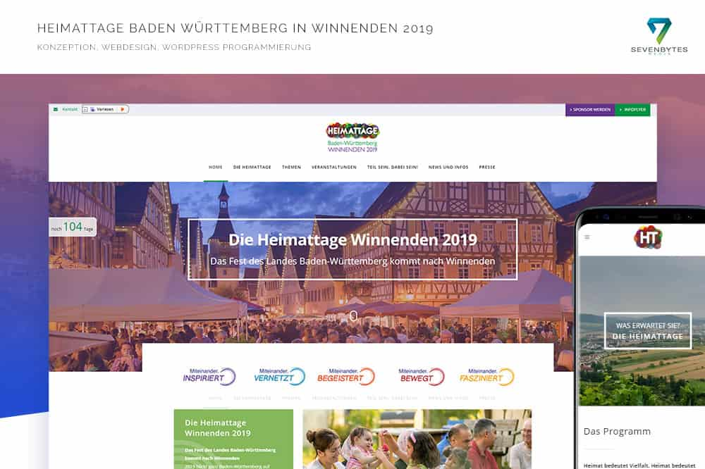 Heimattage Winnenden 2019 Webdesign und Programmierung von Seven Bytes Media