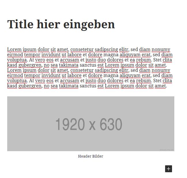 Ansicht platzierter Text- und Bildelemente